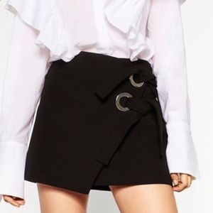 Zara Black Grommet Wrap Mini Skirt with Ties
